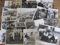 Racing motorcycles, a selection of black and white photos depicting riders and machines 1930s-60s