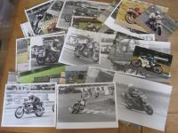 Racing action photos from the open face helmet era, black and white inc' later copies and agency images