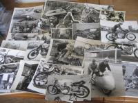 Racing motorcycles, a selection of black and white and colour photos depicting riders and machines, all periods