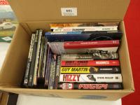 Box of various motorcycle related modern hardback and paperback books, programmes