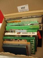 Box of various motorcycle related hard and paperback books from c.1920s including 1965 TT programme