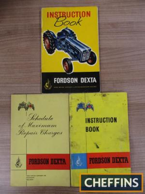 Fordson Dexta, two illustrated instruction books together with schedule of maximum repair charges (3)