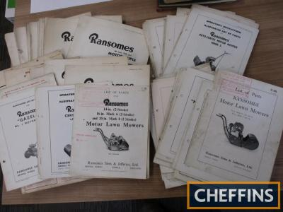 Ransomes pedestrian and motor mowers, a large archive of instructions and parts lists