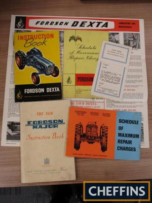 Fordson Dexta instructions, chart, repair charges, together with Fordson Major instruction book and repair charges