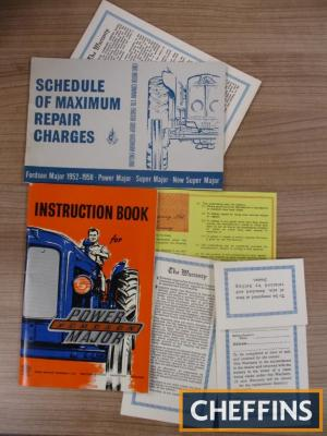 Fordson Power Major illustrated instruction book together with schedule of maximum repair charges and warranty cards