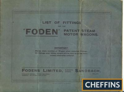 Foden list of fittings for patent steam motor wagons