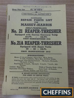 Massey Harris illustrated repair parts list for No. 21/21A Reaper-Thresher, stamped for George Thurlow & Sons Ltd (1948)