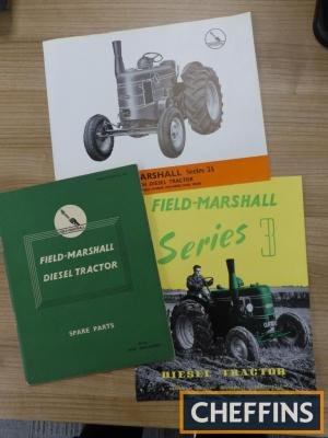 Field-Marshall Series 3 colour brochure, Series 3A colour flyer, together with Field-Marshall illustrated spare parts list