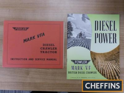 Fowler Mark VF illustrated brochure together with Mark VFA instruction and service manual
