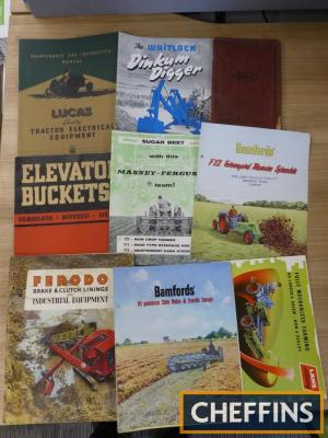 Various farm implement brochures and supply catalogues; Lanz, Bamford, Whitlock, Lucas etc.