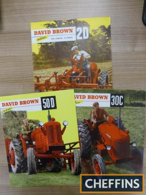David Brown 50D, 30C and 2D illustrated colour tractor brochures (3)