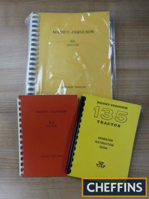 Massey-Ferguson copy workshop manual and instruction book for 65 tractor, together with copy operator instruction book for 135 tractor (3)