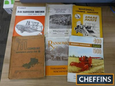 Combine and thresher parts lists and brochures (6)