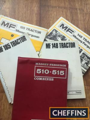 Massey Ferguson 148 & 185 tractor operator manuals with lubrication wall charts and Massey Ferguson 510 & Massey Ferguson 510 combine manual