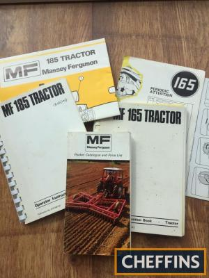 Massey Ferguson 165 & 185 tractor operator manuals with lubrication wall charts and pocket price list