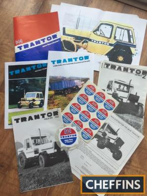 Trantor tractor folder, brochures, poster, promotional stickers and tax disc holder