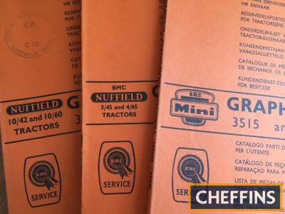 3no. Nuffield tractor parts manuals - 10/42 and 10/30, BMC Mini, 3/45 and 4/65