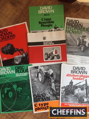 David Brown loader, plough and mower brochures (6) with folder