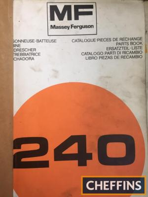 Massey Ferguson 240 combine parts manual