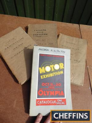 4no. Olympia show catalogues for 1931, 1932, 1933 and 1934