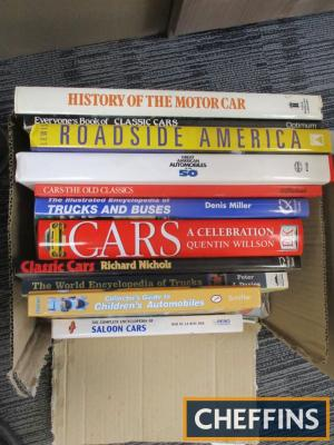 Quantity of motoring titles including Roadside America and Great American Automobiles of the 50s