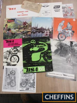 BSA, a collection of range brochures 1950s and 60s and related ephemera