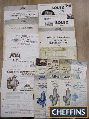 Amal & Salex, a qty of carburettor hints and tips, specification sheets