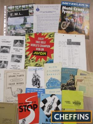 Motorcycle accessory brochures and flyers including fuel ration books