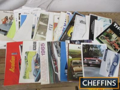 Acadian, Aurora, Auburn etc, a mixed qty of car brochures etc. 1960s-70s