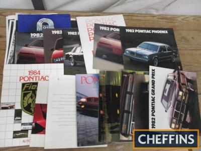 Pontiac, a qty of car brochures 1980s