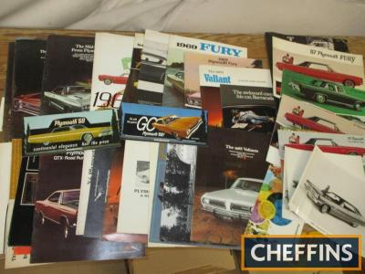 Plymouth, a large qty of car brochures, press photos, counter cards etc. 1960s