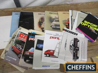 Toyota and Hyundai, a qty of car brochures 1980s