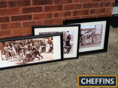 3no. frames photograph on motorcycling themes