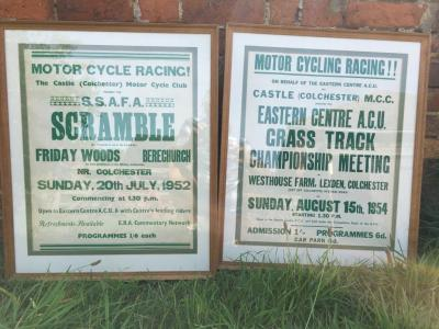 2no. original framed posters The Castle Club Colchester Motor Cycle Club `Scramble` 1952 together with Colchester Castle MCC Eastern Centre Acc. Grass Track Championship Meeting 1954