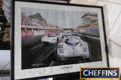 Mercedes: LeMans '89, framed and glazed poster, signed by the team. 33x25ins