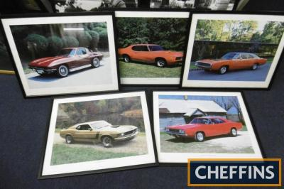 American Muscle Cars, 5 framed and glazed photo images 21x17ins