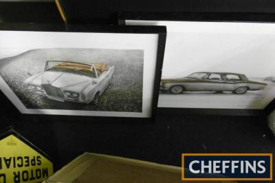 Rolls-Royce, 4 framed and glazed sketches of 1960s and 70s cars