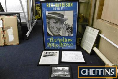 The Yellow Rolls Royce, a cinema foyer poster featuring Rex Harrison together with 3 other Rolls-Royce framed images