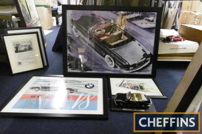 BMW 502 3 framed images together with model car