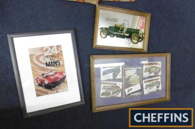Car and model trains, 3 framed images