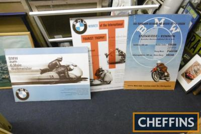 BMW Motorrad, 3 large board mounted motorcycle images ex Goodwood Revival set