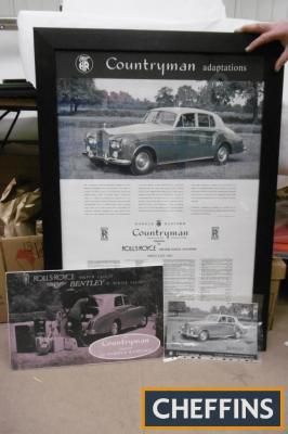 Rolls Royce Countryman, original brochure together with framed and glazed reproduction poster and foamex poster, ex Goodwood Revival set (3)