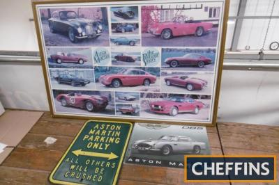 Aston Martin 1982 framed and glazed poster of post war cars together with 2 reproduction signs