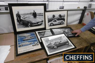 BMW framed and glazed images of sports cars, ex Goodwood Revival set