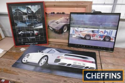 Porsche, 3 framed and glazed images of 935, 962 and 911 turbo together with another