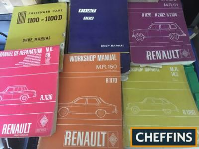 Renault/Fiat workshop manuals (7) and Rover 2000/1965, Skoda 1985, Austin 1969 parts lists, Civic/Jaguar/Marina