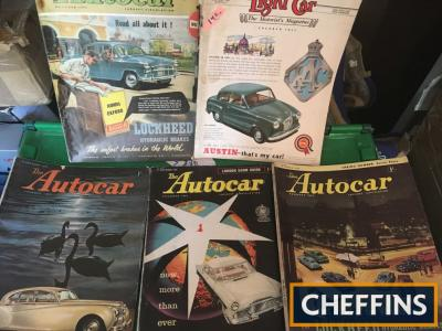 Large box of Autocar Magazines 1950s (42) with show editions. 3no. 1940s, 6no. 1960s