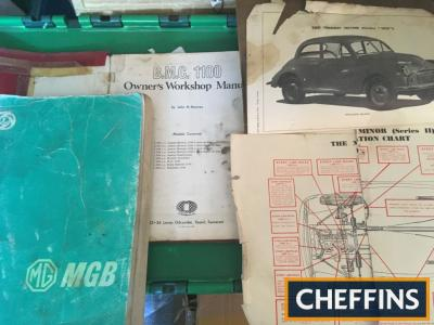 Workshop manuals MGB 1977, Morris Minor 1955 and 1963, MG 1100 1960s, Parts List for Maxi 1972 BMC 2.2