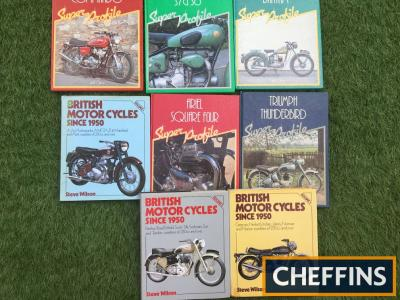 Motorcycle books in Superprofile series Ariel/Sunbeam/Norton/Triumph, along with British Motorcycles Since 1950 volumes 1,3 and 4, covering Greeves Panther, Ariel, Enfield, Sunbeam, Sun, Hesketh, Norton, Indian, AJS, AMC