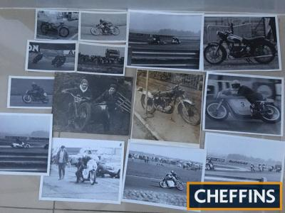 Motorcycle brochures 1939 Matchless, Excelsior 1955, Royal Enfield 1954, Velocette 1957, Villier 1954, Indian 1954, BSA 1964, NSU Quickly, Lambretta price list, 1960s photo archive Thruxton etc. with names and machines on reverse